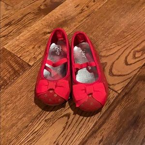 Red on red polka dot slip on's. Gap-size 6